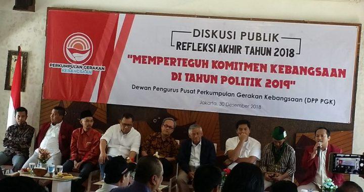 Perkumpulan Gerakan Kebangsaan (PGK) Gelar Diskusi Publik Refleksi Akhir Tahun 2018