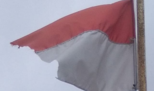 Menghina Bendera Negara, Kepala Desa Purwajaya Mengibarkan Bendera Yang Robek